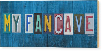 My Fancave License Plate Letter Vintage Phrase Artwork On Blue Wood Wood Print by Design Turnpike