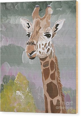 My Favorite Giraffe Wood Print by Phyllis Kaltenbach