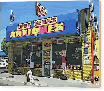 My Favorite Vegas Antique Store Wood Print by John Malone