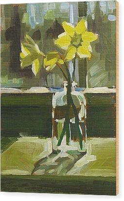 My First Daffodils Wood Print by Annie Salness