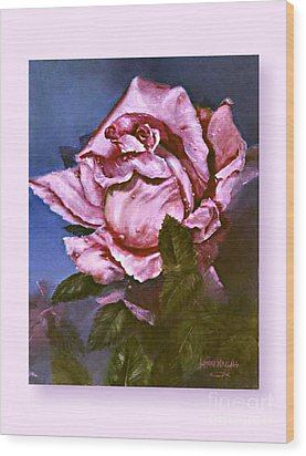 My First Rose Wood Print by Lynne Wright