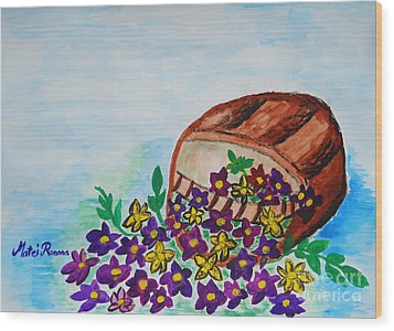 Wood Print featuring the painting My Flower Basket by Ramona Matei