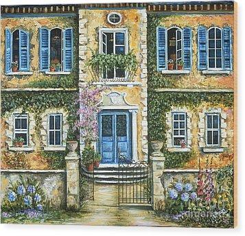 My French Villa Wood Print by Marilyn Dunlap