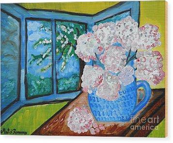 My Grandma S Flowers   Wood Print by Ramona Matei
