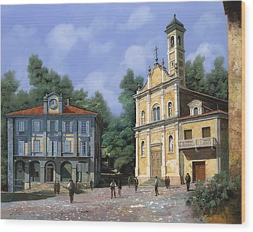 My Home Village Wood Print by Guido Borelli