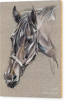 My Horse Portrait Drawing Wood Print by Daliana Pacuraru