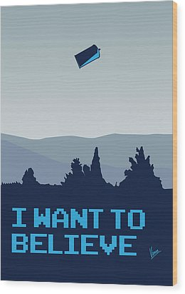 My I Want To Believe Minimal Poster- Tardis Wood Print by Chungkong Art