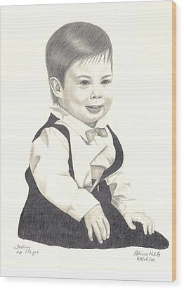 Wood Print featuring the drawing My Little Boy by Patricia Hiltz