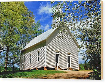 Wood Print featuring the photograph My Little Country Church by Geraldine DeBoer