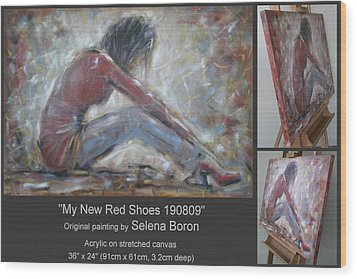Wood Print featuring the painting My New Red Shoes 190809 by Selena Boron