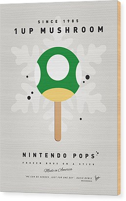 My Nintendo Ice Pop - 1 Up Mushroom Wood Print by Chungkong Art