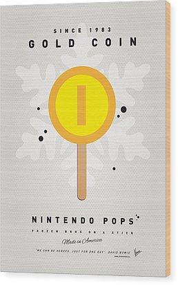 My Nintendo Ice Pop - Gold Coin Wood Print by Chungkong Art