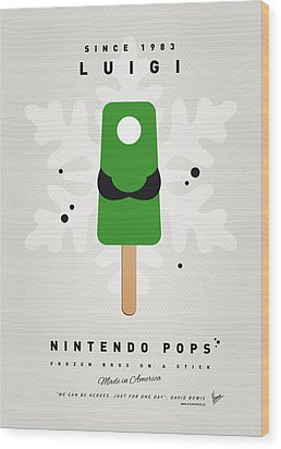 My Nintendo Ice Pop - Luigi Wood Print by Chungkong Art