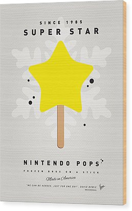 My Nintendo Ice Pop - Super Star Wood Print by Chungkong Art