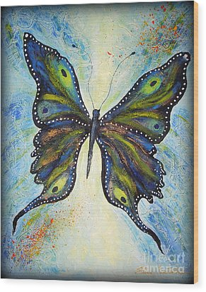 My Peacock Butterfly Wood Print by Elena  Constantinescu