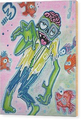 My Pet Zombie #3 / Fish Bait Wood Print by Laura Barbosa