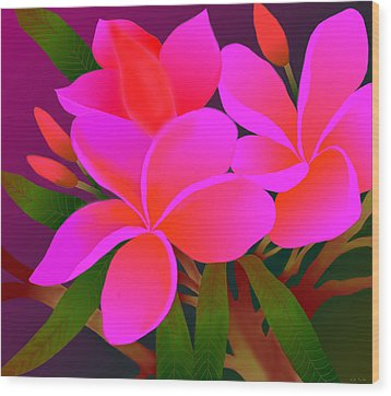 Wood Print featuring the digital art My Pink Plumerias by Latha Gokuldas Panicker    ker
