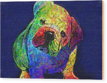 My Psychedelic Bulldog Wood Print by Jane Schnetlage