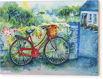 My Red Bicycle Wood Print