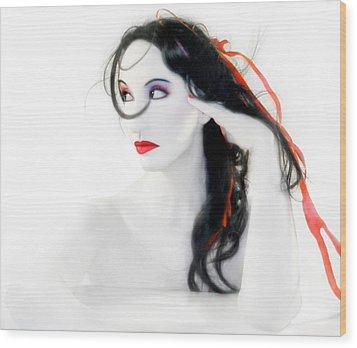 My Red Melancholy - Self Portrait Wood Print by Jaeda DeWalt
