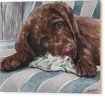 My Rope Toy Wood Print by Molly Poole