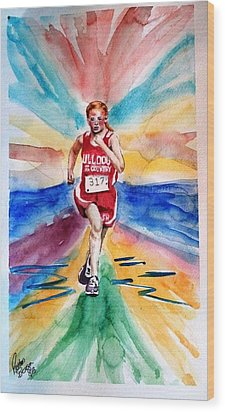 Wood Print featuring the painting My Sarah Running Cross Country by Richard Benson