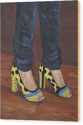 My Shoes Wood Print by Roberta Rotunda