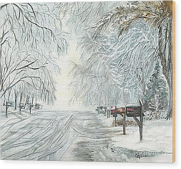 Wood Print featuring the painting My Slippery Street  by Carol Wisniewski