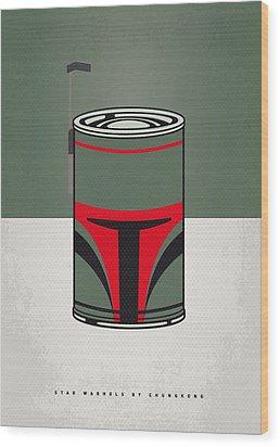 My Star Warhols Boba Fett Minimal Can Poster Wood Print by Chungkong Art