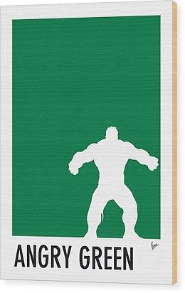My Superhero 01 Angry Green Minimal Poster Wood Print by Chungkong Art