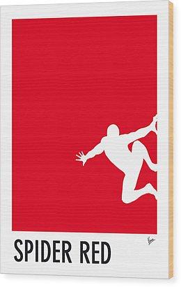My Superhero 04 Spider Red Minimal Poster Wood Print