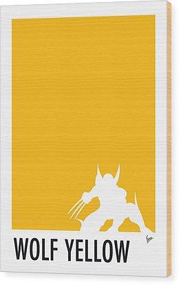 My Superhero 05 Wolf Yellow Minimal Poster Wood Print