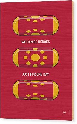 My Superhero Pills - Iron Man Wood Print by Chungkong Art