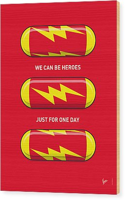 My Superhero Pills - The Flash Wood Print by Chungkong Art