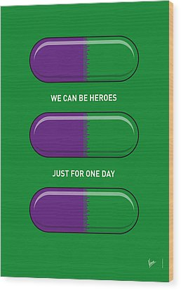 My Superhero Pills - The Hulk Wood Print by Chungkong Art