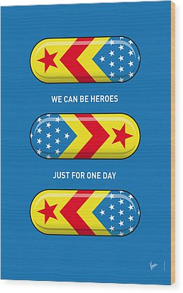 My Superhero Pills - Wonder Woman Wood Print by Chungkong Art