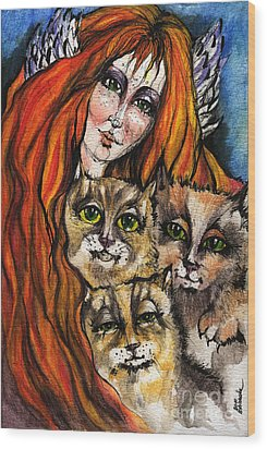 My Three Cats Wood Print by Angel  Tarantella