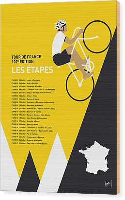 My Tour De France Minimal Poster 2014-etapes Wood Print