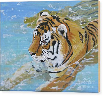 My Water Tiger Wood Print by Phyllis Kaltenbach
