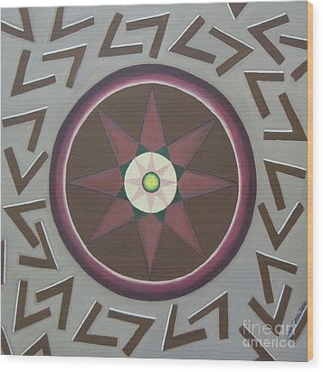 Wood Print featuring the painting My Yantra by Mini Arora