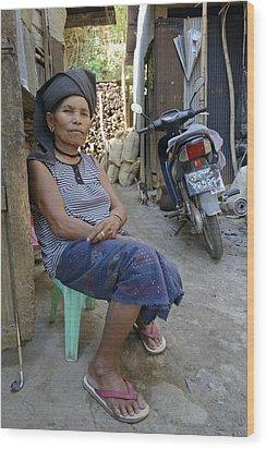 Myanmar Portrait Wood Print