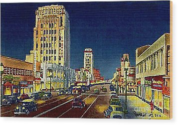 Myer- Siegel Department Store And The Miracle Mile In Los Angeles Ca Around 1940 Wood Print