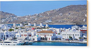 Mykonos Port Wood Print