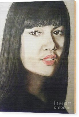 Wood Print featuring the drawing Myra Molloy Winner Of Thailand Got Talent  by Jim Fitzpatrick