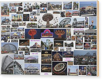 Myrtle Beach Pavilion Collage Wood Print