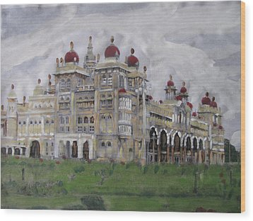 Wood Print featuring the painting Mysore Palace by Vikram Singh