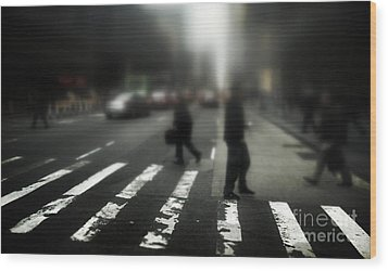 Mysterious Business Men In New York City Crosswalk Wood Print by Amy Cicconi