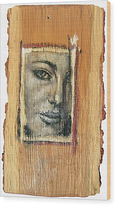 Mysterious Girl Face Portrait - Painting On The Wood Wood Print by Nenad Cerovic