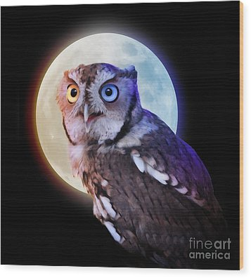 Mysterious Owl Animal At Night With Full Moon Wood Print by Angela Waye