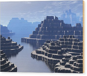 Mysterious Terraced Mountains Wood Print by Phil Perkins